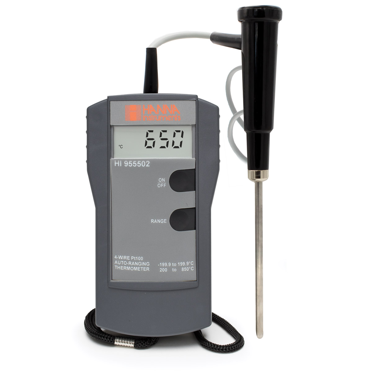 4-Wire Pt100 Thermometer with Fixed Probe - HI955502