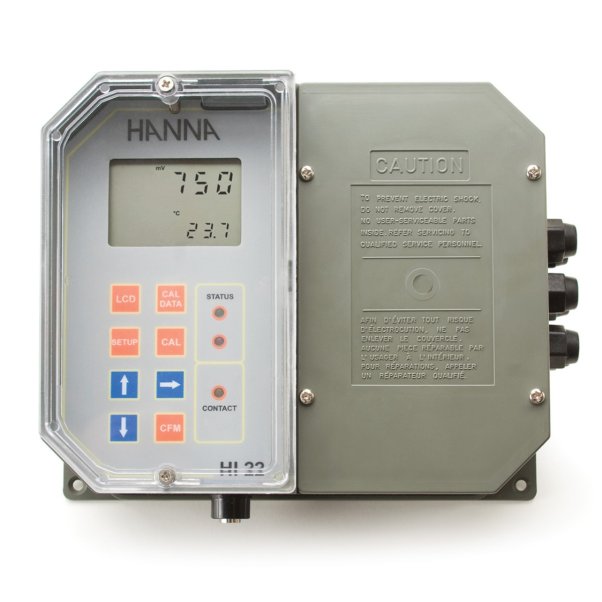 Wall Mounted ORP Digital Controller with Single Setpoint and Matching Pin HI22111